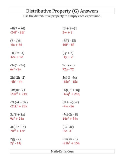 The Using the Distributive Property (Some Answers Include Exponents) (G) Math Worksheet Page 2