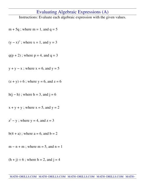 Worksheets Algebraic Expression Worksheets evaluating two step algebraic expressions with variables a
