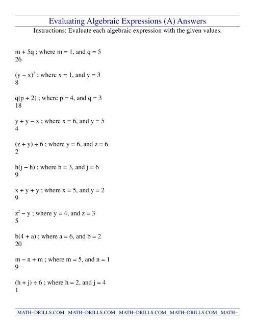 Evaluating Algebraic Expressions Worksheet Teaching Resources ...
