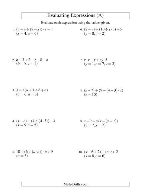 Printables Evaluating Algebraic Expressions Worksheet evaluating five step algebraic expressions with three variables a the algebra worksheet