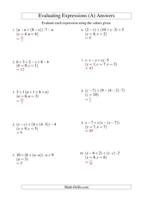 The Evaluating Five-Step Algebraic Expressions with Three Variables (A) Math Worksheet Page 2
