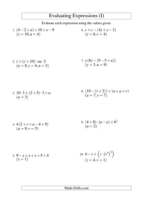 Free Worksheet Evaluating Expressions Worksheets Phinixi – Aa Step 8 Worksheet