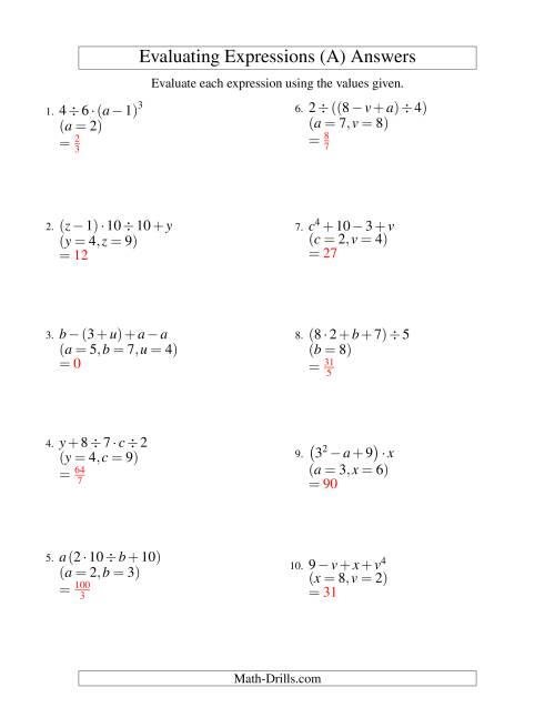 The Evaluating Four-Step Algebraic Expressions with Three Variables (A) Math Worksheet Page 2