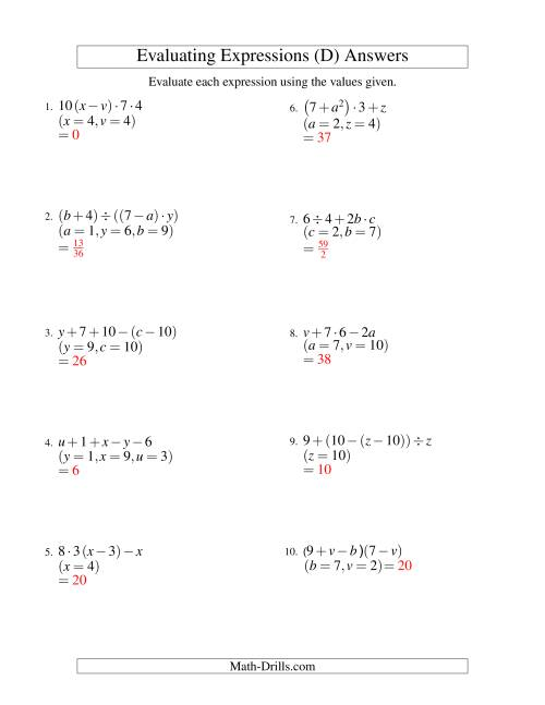 The Evaluating Four-Step Algebraic Expressions with Three Variables (D) Math Worksheet Page 2