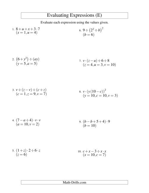 The Evaluating Four-Step Algebraic Expressions with Three Variables (E) Math Worksheet