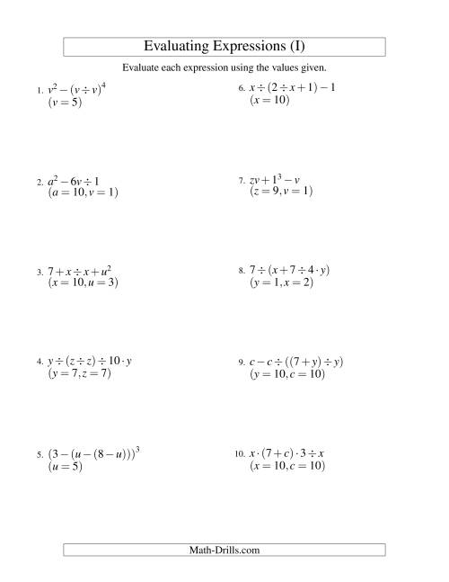 The Evaluating Four-Step Algebraic Expressions with Three Variables (I) Math Worksheet
