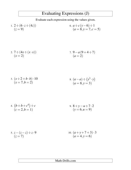 The Evaluating Four-Step Algebraic Expressions with Three Variables (J) Math Worksheet