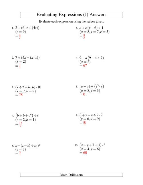 The Evaluating Four-Step Algebraic Expressions with Three Variables (J) Math Worksheet Page 2