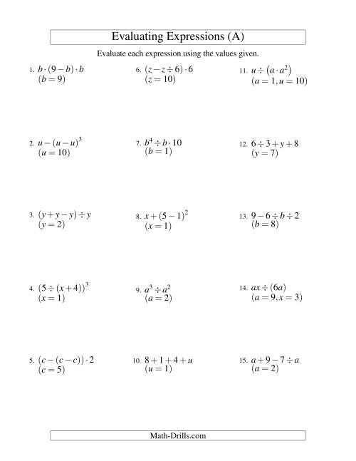 The Evaluating Three-Step Algebraic Expressions with Two Variables (A) Math Worksheet