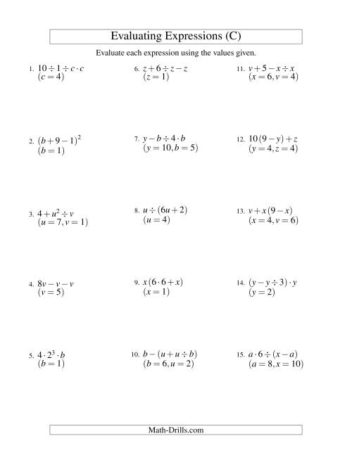 The Evaluating Three-Step Algebraic Expressions with Two Variables (C) Math Worksheet