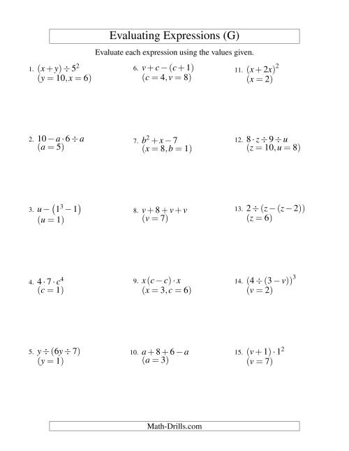 The Evaluating Three-Step Algebraic Expressions with Two Variables (G)