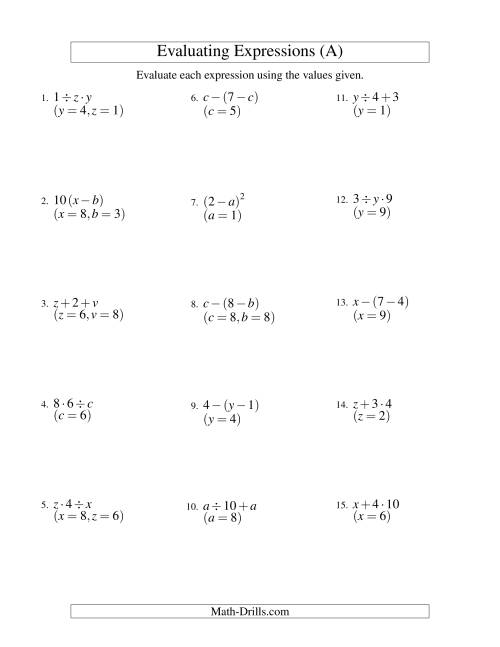 The Evaluating Two-Step Algebraic Expressions with Two Variables (A) Algebra Worksheet
