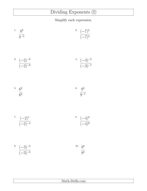 The Dividing Exponents With a Larger or Equal Exponent in the Dividend (With Negatives) (I) Math Worksheet