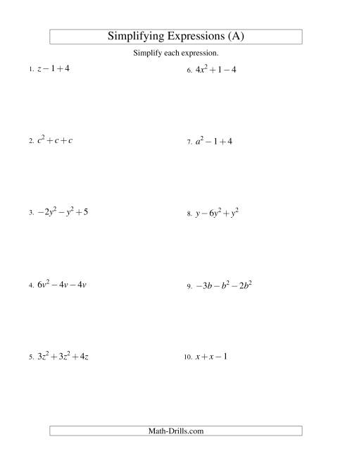 The Simplifying Algebraic Expressions with One Variable and Three Terms (Addition and Subtraction) (A) Algebra Worksheet