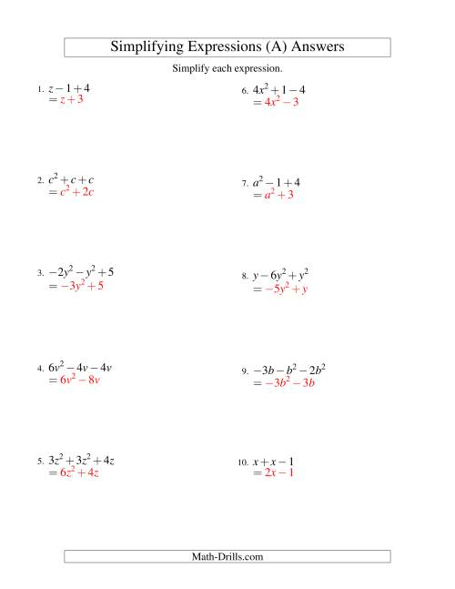 The Simplifying Algebraic Expressions with One Variable and Three Terms (Addition and Subtraction) (A) Math Worksheet Page 2