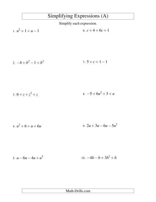 The Simplifying Algebraic Expressions with One Variable and Four Terms (Addition and Subtraction) (A) Math Worksheet