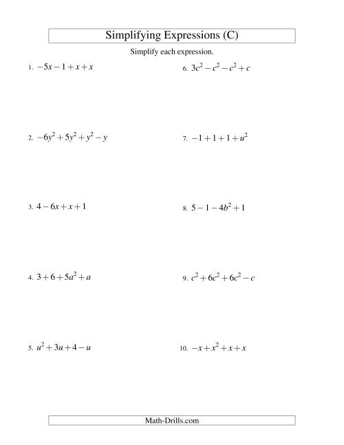The Simplifying Algebraic Expressions with One Variable and Four Terms (Addition and Subtraction) (C) Math Worksheet