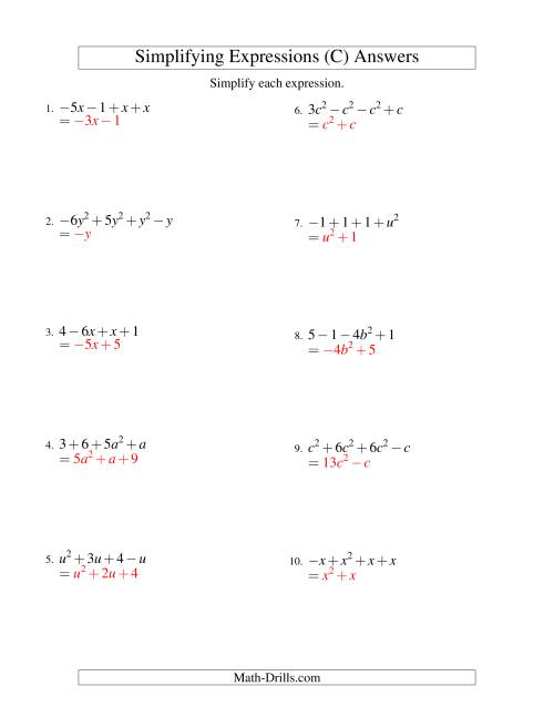 The Simplifying Algebraic Expressions with One Variable and Four Terms (Addition and Subtraction) (C) Math Worksheet Page 2