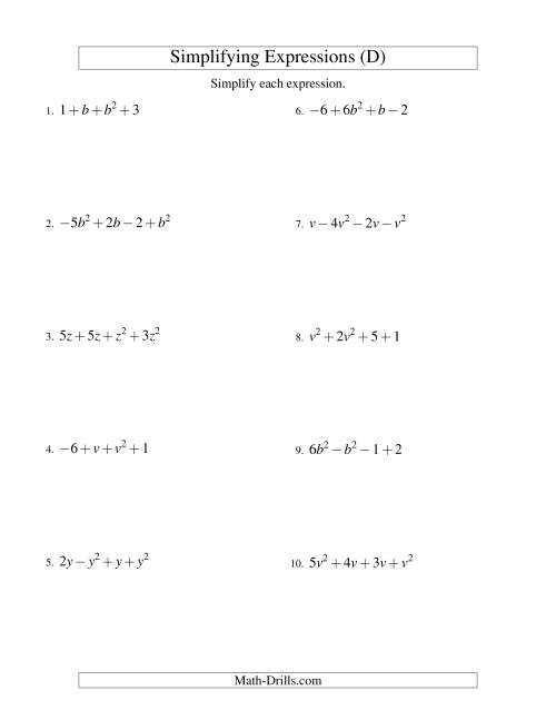 The Simplifying Algebraic Expressions with One Variable and Four Terms (Addition and Subtraction) (D) Math Worksheet