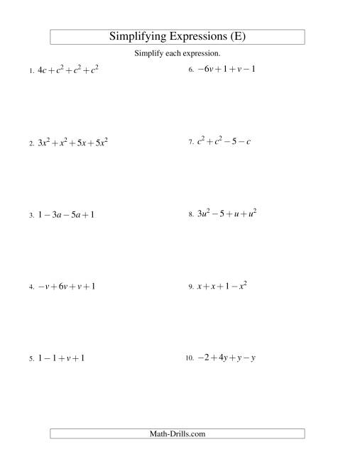 6+ [ Simplifying Algebraic Expressions Worksheets 8th Grade ...