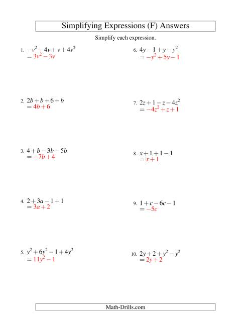 The Simplifying Algebraic Expressions with One Variable and Four Terms (Addition and Subtraction) (F) Math Worksheet Page 2