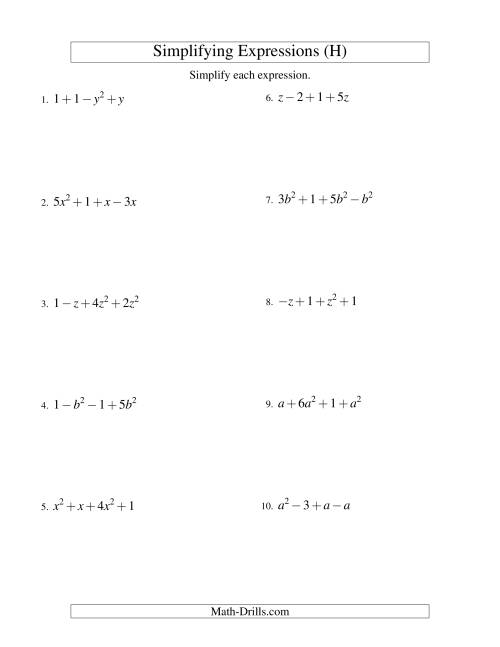 The Simplifying Algebraic Expressions with One Variable and Four Terms (Addition and Subtraction) (H) Math Worksheet