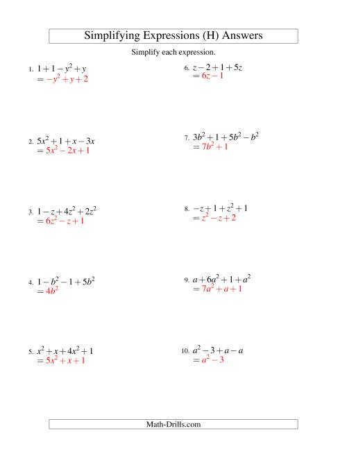 The Simplifying Algebraic Expressions with One Variable and Four Terms (Addition and Subtraction) (H) Math Worksheet Page 2