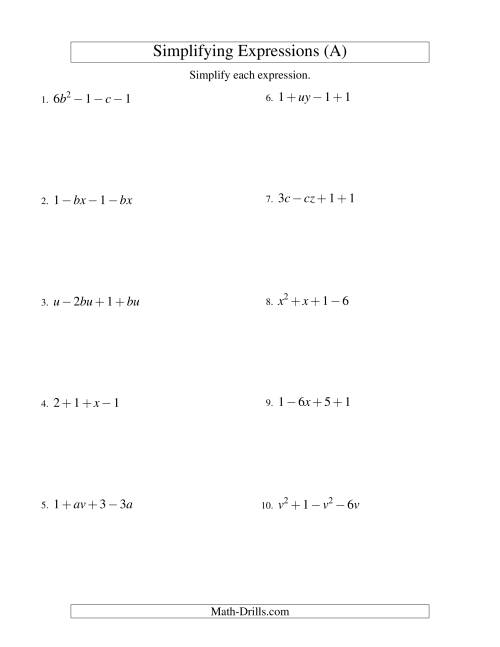 The Simplifying Algebraic Expressions with Two Variables and Four Terms (Addition and Subtraction) (A) Math Worksheet