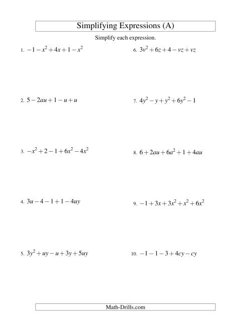The Simplifying Algebraic Expressions with Two Variables and Five Terms (Addition and Subtraction) (A) Math Worksheet