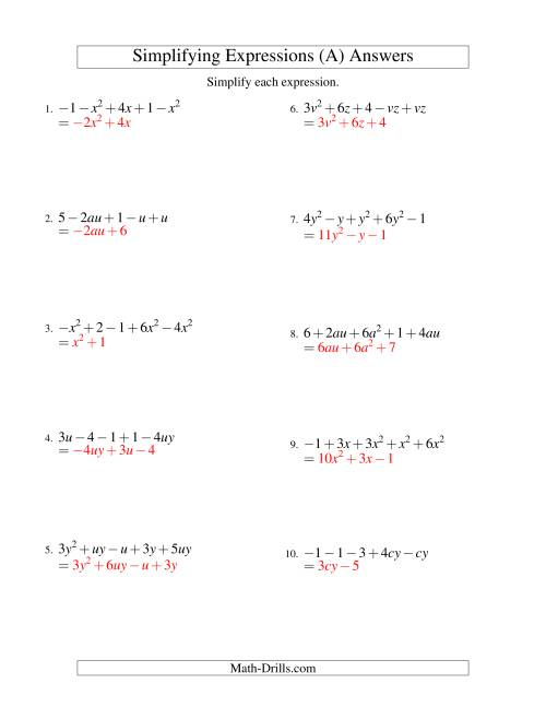 The Simplifying Algebraic Expressions with Two Variables and Five Terms (Addition and Subtraction) (All) Math Worksheet Page 2