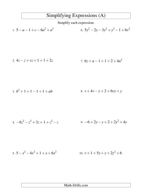 Printables Simplifying Algebraic Expressions Worksheet simplifying algebraic expressions with two variables and six terms the addition subtraction