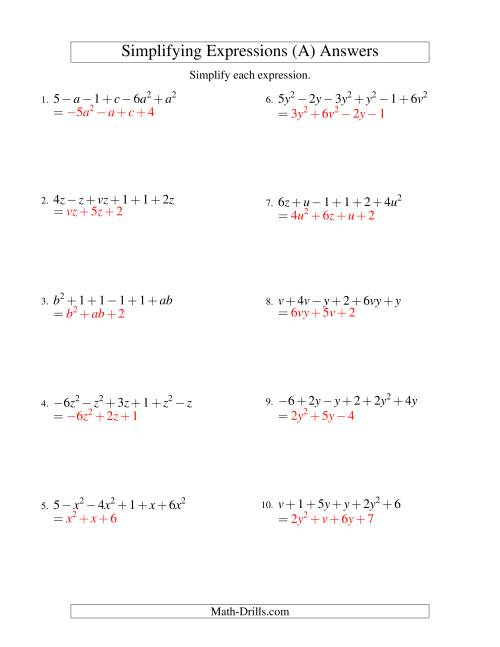 Combining Like Terms Answer Sheet Ibovnathandedecker