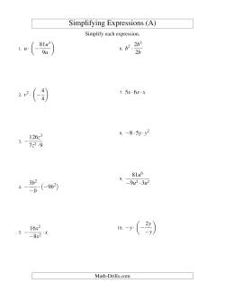 algebra worksheets multiplication and division  variable  terms