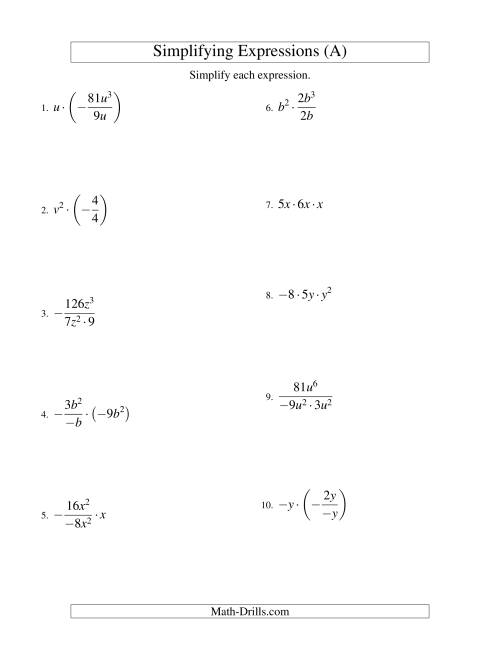 The Simplifying Algebraic Expressions with One Variable and Three Terms (Multiplication and Division) (A) Math Worksheet