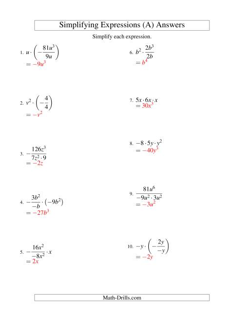 Simplifying Algebraic Expressions with One Variable and ...