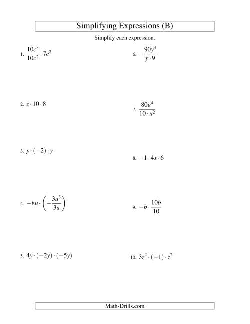 The Simplifying Algebraic Expressions with One Variable and Three Terms (Multiplication and Division) (B) Math Worksheet