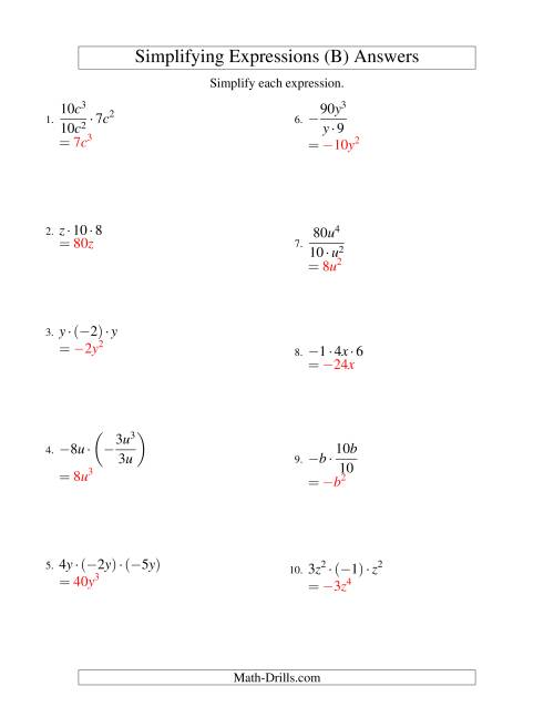 The Simplifying Algebraic Expressions with One Variable and Three Terms (Multiplication and Division) (B) Math Worksheet Page 2