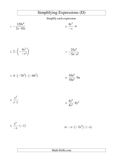 The Simplifying Algebraic Expressions with One Variable and Three Terms (Multiplication and Division) (D) Math Worksheet