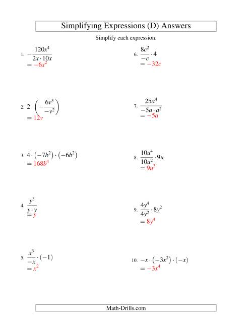 The Simplifying Algebraic Expressions with One Variable and Three Terms (Multiplication and Division) (D) Math Worksheet Page 2