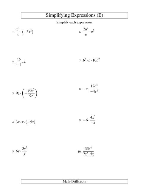 The Simplifying Algebraic Expressions with One Variable and Three Terms (Multiplication and Division) (E) Math Worksheet