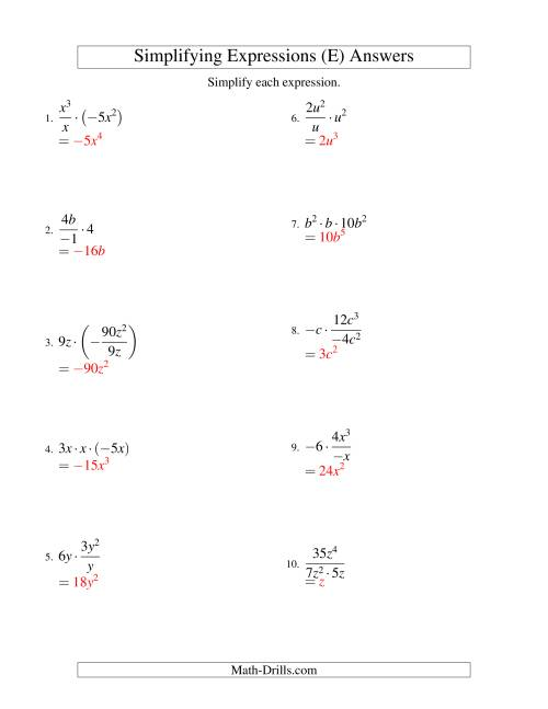 The Simplifying Algebraic Expressions with One Variable and Three Terms (Multiplication and Division) (E) Math Worksheet Page 2