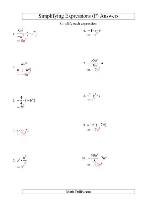 The Simplifying Algebraic Expressions with One Variable and Three Terms (Multiplication and Division) (F) Math Worksheet Page 2