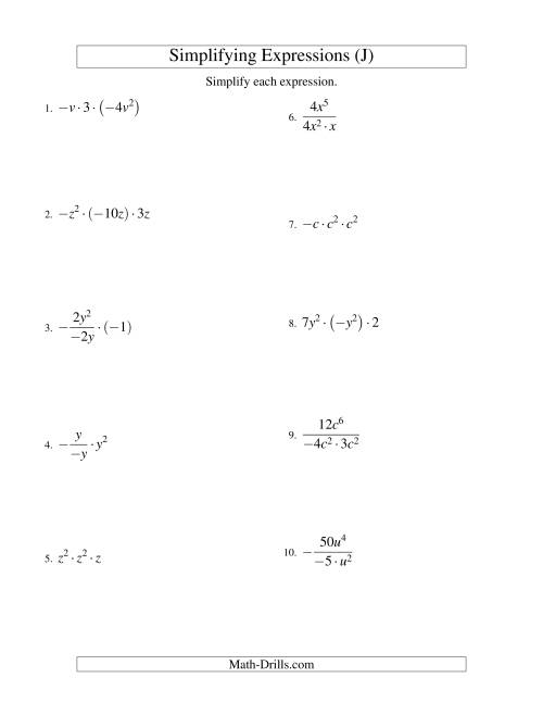 The Simplifying Algebraic Expressions with One Variable and Three Terms (Multiplication and Division) (J) Math Worksheet