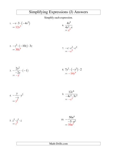 The Simplifying Algebraic Expressions with One Variable and Three Terms (Multiplication and Division) (J) Math Worksheet Page 2