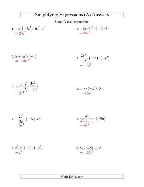 Simplifying Algebraic Expressions with One Variable and Four ...