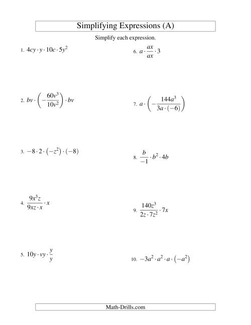 The Simplifying Algebraic Expressions with Two Variables and Four Terms (Multiplication and Division) (A) Math Worksheet