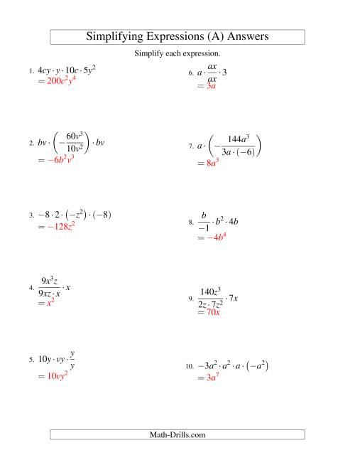Simplifying Algebraic Expressions with Two Variables and ...