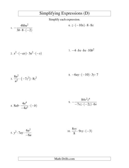 The Simplifying Algebraic Expressions with Two Variables and Four Terms (Multiplication and Division) (D) Math Worksheet