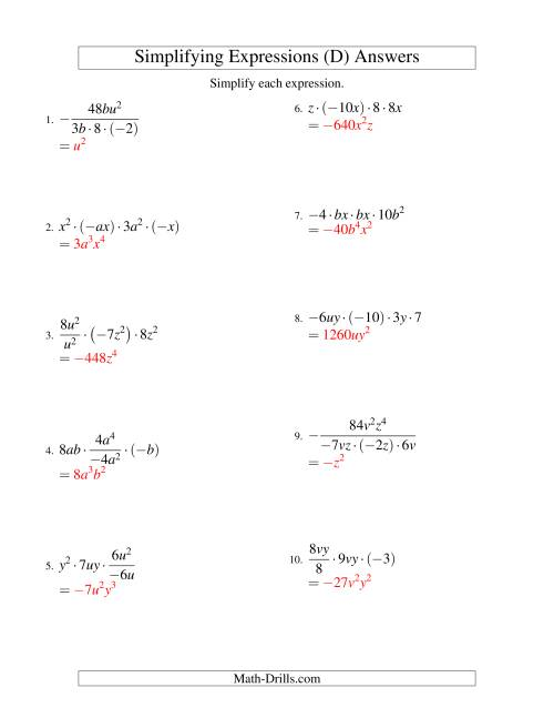 The Simplifying Algebraic Expressions with Two Variables and Four Terms (Multiplication and Division) (D) Math Worksheet Page 2