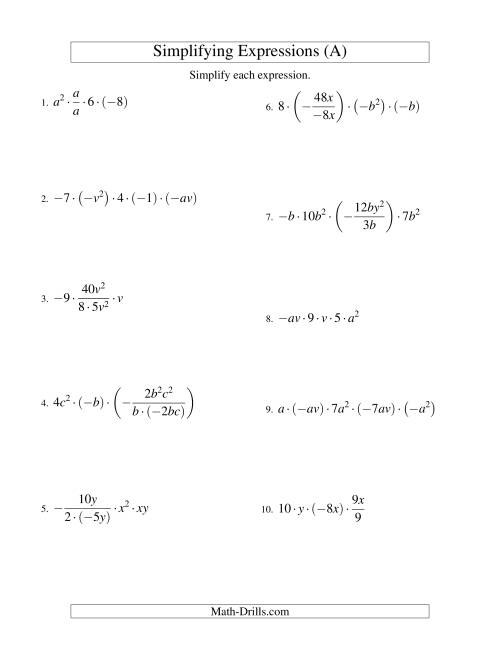 The Simplifying Algebraic Expressions with Two Variables and Five Terms (Multiplication and Division) (A) Math Worksheet